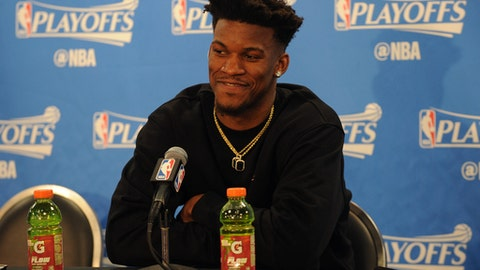 CHICAGO, IL - APRIL 28:  Jimmy Butler #21 of the Chicago Bulls talks to the media during a press conference after Game Six of the Eastern Conference Quarterfinals against the Boston Celtics during the 2017 NBA Playoffs on April 28, 2017 at the United Center in Chicago, Illinois. NOTE TO USER: User expressly acknowledges and agrees that, by downloading and or using this photograph, user is consenting to the terms and conditions of the Getty Images License Agreement.  Mandatory Copyright Notice: Copyright 2017 NBAE (Photo by Randy Belice/NBAE via Getty Images)