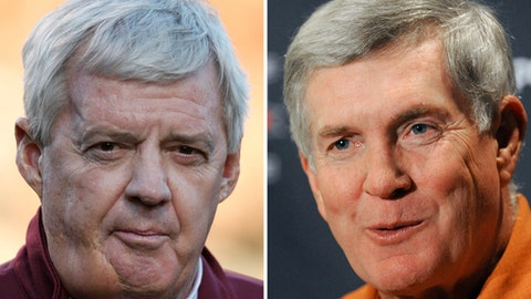 FILE - At left is an Oct. 15, 2011, file photo showing then-Virginia Tech head football coach Frank Beamer. At right is a July 25, 2011, file photo showing then-Texas head coach Mack Brown. Longtime Virginia Tech coach Frank Beamer and former Texas coach Mack Brown, along with former players Charles Woodson, Ed Reed and Calvin Johnson, are among those making their first appearance on the College Football Hall of Fame ballot this year. The ballot released Thursday, June 1,2017, by the National Football Foundation includes 75 players and six coaches who competed in the Football Bowl Subdivision of the NCAA.  (AP Photo/File)