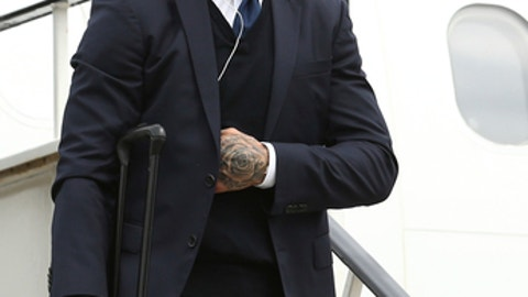 Sergio Ramos of Real Madrid arrives with his teammates at Cardiff airport, Wales, Friday June 2, 2017. Real Madrid will play Juventus in the final of the Champions League soccer match in Cardiff on Saturday. (UEFA Pool via AP)