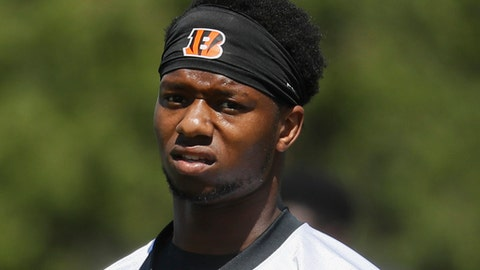 FILE - This is a May 23, 2017, file photo showing Cincinnati Bengals running back Joe Mixon during organized team activities in Cincinnati. The Bengals signed Mixon to a four-year contract Friday, June 2, 2017.(AP Photo/John Minchillo, File)