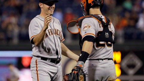 Ty Blach tosses 6-hitter, Giants rout Phillies 10-0