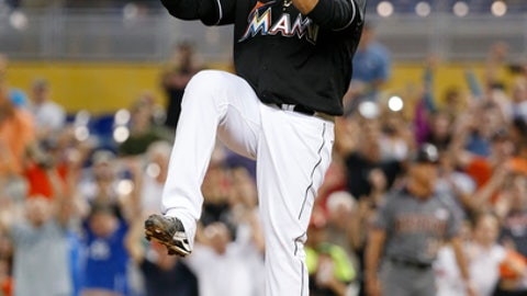 Miami Marlins starting pitcher Edinson Volquez celebrates after throwing a no-hitter as the Marlins defeated the Arizona Diamondbacks 3-0 during a baseball game, Saturday, June 3, 2017, in Miami. (AP Photo/Wilfredo Lee)
