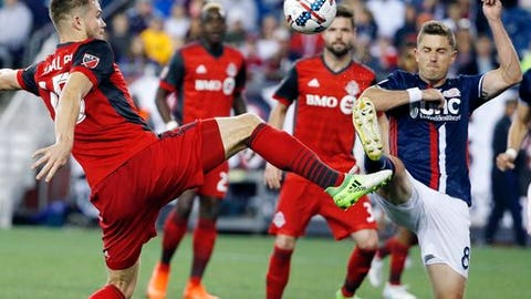 Toronto FC's Eriq Zavaleta (15) and New England Revolution's Chris Tierney (8) battle for the ball during the first half of an MLS soccer game, Saturday, June 3, 2107, in Foxborough, Mass. (AP Photo/Michael Dwyer)