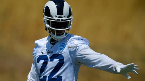 Los Angeles Rams cornerback Trumaine Johnson gets set to run a play during NFL football practice, Monday, June 5, 2017, in Thousand Oaks, Calif. (AP Photo/Mark J. Terrill)
