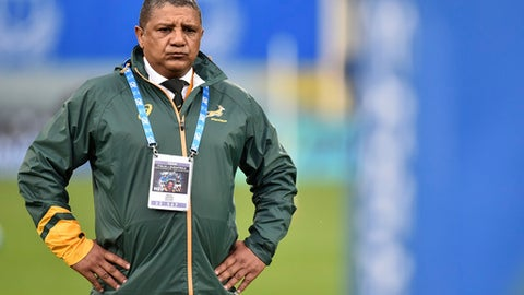 FILE - In this Saturday, Nov. 16, 2016 file photo, South Africa coach Allister Coetzee waits for the start of the international rugby union test match against Italy, in Florence, Italy. Springboks coach Allister Coetzee has picked four uncapped players, all of them in the backline, for the first test against France on Saturday June 10, 2017.. (AP Photo/Andrea Staccioli, File)