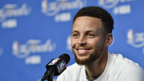 CLEVELAND, OH - JUNE 08:  Stephen Curry #30 of the Golden State Warriors talks to the media during a press conference after practice and media availability as part of the 2017 NBA Finals on June 08, 2017 at Quicken Loans Arena in Cleveland, Ohio. NOTE TO USER: User expressly acknowledges and agrees that, by downloading and or using this photograph, User is consenting to the terms and conditions of the Getty Images License Agreement. Mandatory Copyright Notice: Copyright 2017 NBAE (Photo by David Liam Kyle/NBAE via Getty Images)