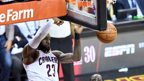 CLEVELAND OH- JUNE 09 Le Bron James #23 of the Cleveland Cavaliers goes up for a dunk in the fourth quarter against the Golden State Warriors in Game 4 of the 2017 NBA Finals at Quicken Loans Arena