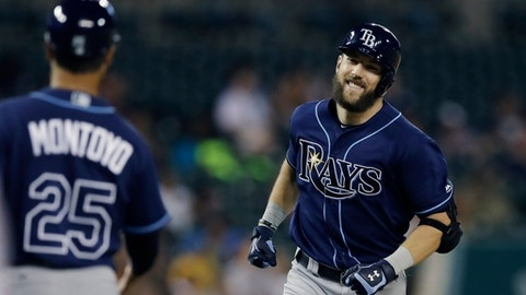 Tampa Bay Rays' Steven Souza Jr. rounds the bases after his solo home run during the eighth inning of the team's baseball game against the Detroit Tigers, Thursday, June 15, 2017, in Detroit. (AP Photo/Carlos Osorio)