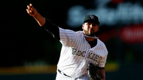Colorado Rockies starting pitcher Antonio Senzatela delivers to San Francisco Giants' Brandon Belt in the first inning of a baseball game Friday, June 16, 2017, in Denver. (AP Photo/David Zalubowski)