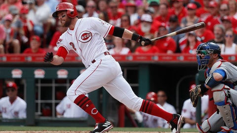 Cincinnati Reds' Zack Cozart hits a double off Los Angeles Dodgers starting pitcher Hyun-Jin Ryu in the first inning of a baseball game, Saturday, June 17, 2017, in Cincinnati. (AP Photo/John Minchillo)