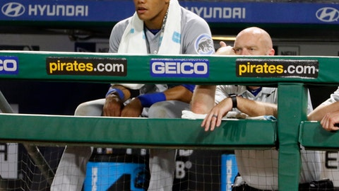 Chicago Cubs' Addison Russell, left, sits in the dugout in the ninth inning of a loss to the Pittsburgh Pirates in a baseball game in Pittsburgh, Saturday, June 17, 2017. (AP Photo/Gene J. Puskar)