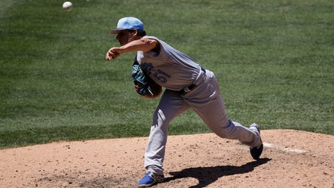 Kansas City Royals starting pitcher Jason Vargas throws against the Los Angeles Angels during the fifth inning of a baseball game, Sunday, June 18, 2017, in Anaheim, Calif. (AP Photo/Jae C. Hong)