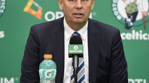 BOSTON, MA - JULY 8: Danny Ainge welcomes Al Horford as the newest member of the Boston Celtics on July 8, 2016 at the Boston Celtics Practice Facility in Waltham, Massachusetts. NOTE TO USER: User expressly acknowledges and agrees that, by downloading and or using this photograph, User is consenting to the terms and conditions of the Getty Images License Agreement. Mandatory Copyright Notice: Copyright 2016 NBAE  (Photo by Brian Babineau/NBAE via Getty Images)