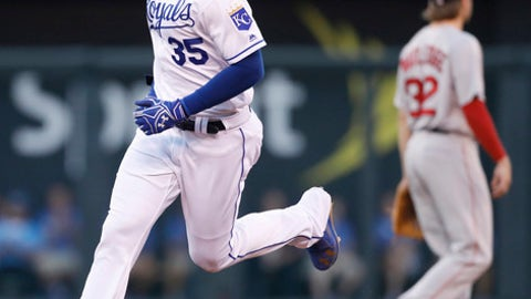 Kansas City Royals hitter Eric Hosmer rounds the bases after hitting a two-run home run in the third inning of a baseball game against the Boston Red Sox at Kauffman Stadium in Kansas City, Mo., Monday, June 19, 2017. (AP Photo/Colin E. Braley)