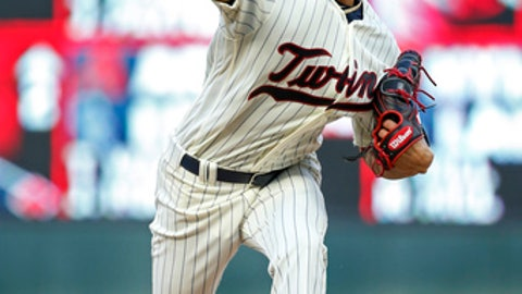 Minnesota Twins starting pitcher Jose Berrios throws to the Chicago White Sox during the second inning of a baseball game Wednesday, June 21, 2017, in Minneapolis. (AP Photo/Bruce Kluckhohn)