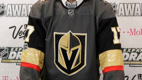 Vegas Golden Knights' Chris Thorburn poses for photographers Wednesday, June 21, 2017, in Las Vegas. Thorburn was picked by the Vegas Golden Knights in the NHL expansion draft. (AP Photo/John Locher)