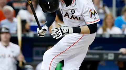 Miami Marlins' Christian Yelich pulls back to avoid a close pitch during the third inning of a baseball game against the Chicago Cubs, Friday, June 23, 2017, in Miami. (AP Photo/Wilfredo Lee)