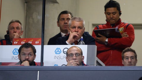 British and Irish Lions head coach Warren Gatland watches play during the first test between the British and Irish Lions and the All Blacks at Eden Park in Auckland, New Zealand, Saturday, June 24, 2017. (AP Photo/Mark Baker)