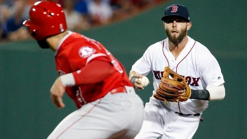 Boston Red Sox's Dustin Pedroia, right, runs down Los Angeles Angels' Danny Espinosa on an attempted steal during the sixth inning of a baseball game, Saturday, June 24, 2017, in Boston. (AP Photo/Michael Dwyer)