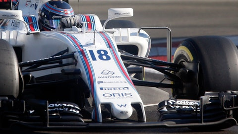 Williams driver Lance Stroll of Canada steers his car during the Formula One Azerbaijan Grand Prix in Baku, Azerbaijan, Sunday, June 25, 2017. (AP Photo/Darko Bandic)