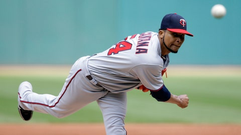 Minnesota Twins starting pitcher Ervin Santana delivers in the first inning of a baseball game against the Cleveland Indians, Sunday, June 25, 2017, in Cleveland. (AP Photo/Tony Dejak)