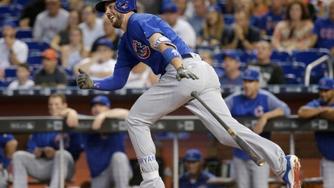 Chicago Cubs' Kris Bryant drops his bat after hitting a single during the first inning of a baseball game against the Miami Marlins, Sunday, June 25, 2017, in Miami. (AP Photo/Lynne Sladky)