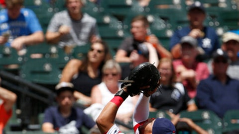 Chicago White Sox catcher Omar Narvaez catches a ball by Oakland Athletics' Ryon Healy during the first inning of a baseball game Sunday, June 25, 2017, in Chicago. (AP Photo/Nam Y. Huh)