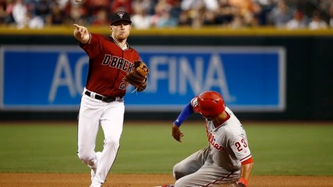 Arizona Diamondbacks' Brandon Drury, left, throws to first base to complete a double play after forcing out Philadelphia Phillies' Aaron Altherr, right, at second base during the fourth inning of a baseball game Sunday, June 25, 2017, in Phoenix. (AP Photo/Ross D. Franklin)