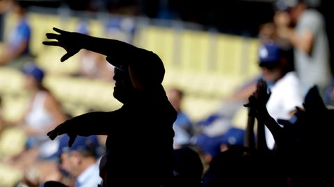 Fans cheer after Los Angeles Dodgers' Austin Barnes scores the go ahead run on a wild during the seventh inning of a baseball game against the Colorado Rockies in Los Angeles, Sunday, June 25, 2017. (AP Photo/Chris Carlson)