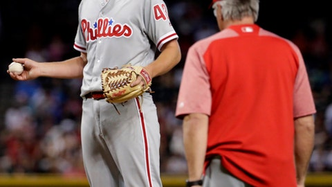 Philadelphia Phillies starting pitcher Nick Pivetta is pulled from the game by manager Pete Mackanin during the third inning of a baseball game against the Arizona Diamondbacks, Monday, June 26, 2017, in Phoenix. (AP Photo/Matt York)