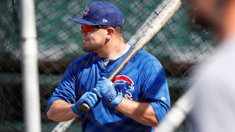 Iowa Cubs outfielder Kyle Schwarber takes batting practice before a Triple-A baseball game against the New Orleans Baby Cakes, Monday, June 26, 2017, in Des Moines, Iowa. (AP Photo/Charlie Neibergall)