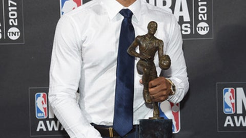NEW YORK, NY - JUNE 26:  NBA player Russell Westbrook poses with the Kia NBA Most Valuable Player award at attends the 2017 NBA Awards live on TNT on June 26, 2017 in New York, New York. 27111_003  (Photo by Jamie McCarthy/Getty Images for TNT)