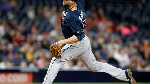 Atlanta Braves relief pitcher Jim Johnson throws during the ninth inning of the team's baseball game against the San Diego Padres in San Diego, Tuesday, June 27, 2017. The Braves won 3-0. (AP Photo/Alex Gallardo)