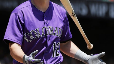 Colorado Rockies' Mark Reynolds flips his bat after striking out against the San Francisco Giants during the first inning of a baseball game in San Francisco, Wednesday, June 28, 2017. The Giants won 5-3. (AP Photo/Jeff Chiu)