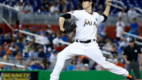 Miami Marlins' Jeff Locke delivers a pitch during the first inning of the team's baseball game against the New York Mets, Wednesday, June 28, 2017, in Miami. (AP Photo/Wilfredo Lee)