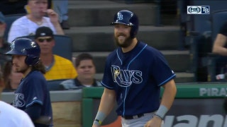 Souza Jr. shakes off a hit by pitch with a smile