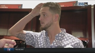 Justin Nicolino reacts to his start against the Cubs