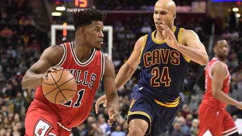 Feb 25, 2017; Cleveland, OH, USA; Chicago Bulls forward Jimmy Butler (21) drives against Cleveland Cavaliers forward Richard Jefferson (24) during the second half at Quicken Loans Arena. The Bulls won 117-99. Mandatory Credit: Ken Blaze-USA TODAY Sports