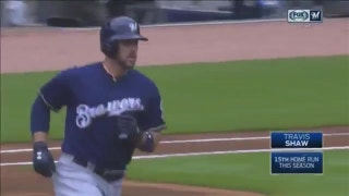 WATCH: Brewers' Shaw starts offensive flurry with huge two-run homer
