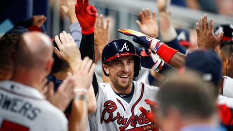 Jun 22, 2017; Atlanta, GA, USA; Atlanta Braves center fielder Lane Adams (16) celebrates a home run with teammates against the San Francisco Giants in the fifth inning at SunTrust Park. Mandatory Credit: Brett Davis-USA TODAY Sports