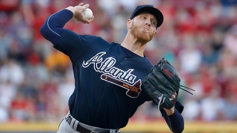 Atlanta Braves starting pitcher Mike Foltynewicz throws during the second inning of the team's baseball game against the Cincinnati Reds, Friday, June 2, 2017, in Cincinnati. (AP Photo/John Minchillo)