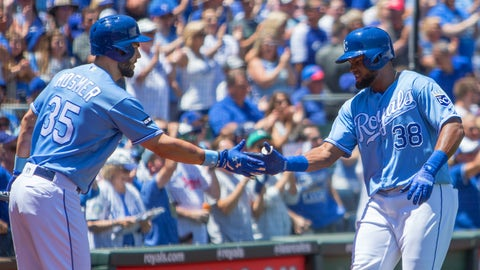 KANSAS CITY, MO - JUNE 25: Kansas City Royals right fielder Jorge Bonifacio (38) gets congratulated by Kansas City Royals first baseman Eric Hosmer (35) after hitting a homer during the MLB American League game between the Toronto Blue Jays and the Kansas City Royals on June 25, 2017 at Kauffman Stadium in Kansas City, Missouri.  (Photo by William Purnell/Icon Sportswire via Getty Images)