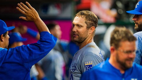 ANAHEIM, CA - JUNE 15: Kansas City Royals left fielder Alex Gordon (4) is congratulated after hitting a home run in the third inning during the regular season game between the Los Angeles Angels verses the Kansas City Royals at Angel Stadium of Anaheim  in Anaheim,CA on June 15th, 2017 (Photo by Samuel Stringer/Icon Sportswire via Getty Images)