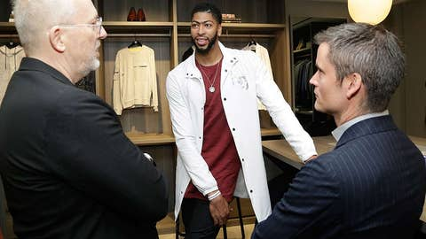 """NEW YORK, NY - JUNE 06:  (L-R) GQ Creative Director Jim Moore, NBA Player Anthony Davis and GC Fashion Market Director Ted Stafford attend the """"Saks Fifth Avenue x Anthony Davis"""" Pre-Fall 2017 Collection Launch at Saks Downtown Men's on June 6, 2017 in New York City.  (Photo by Lars Niki/Getty Images for Saks Fifth Avenue)"""