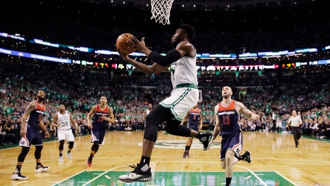 Boston Celtics forward Jaylen Brown (7) drives to the basket during the second half of Game 7 of an NBA basketball second-round playoff series Boston, Monday, May 15, 2017. (AP Photo/Charles Krupa)