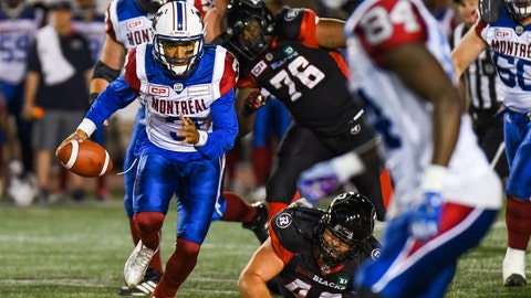 MONTREAL, QC - JUNE 15: Montreal Alouettes quarterback Vernon Adams Jr. (3) running away from the scrimmage line with the ball during the Ottawa Redblacks versus the Montreal Alouettes preseason game on June 15, 2017, at Percival Molson Memorial Stadium in Montreal, QC (Photo by David Kirouac/Icon Sportswire)