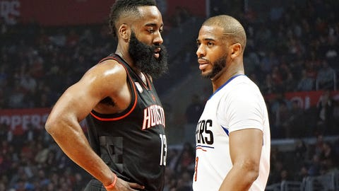 LOS ANGELES, UNITED STATES - MARCH 2: Chris Paul (R) of Los Angeles Clippers and James Harden (L) of Houston Rockets are seen during the NBA match between Los Angeles Clippers and Houston Rockets at Staples Center in Los Angeles, United States on March 2, 2017.