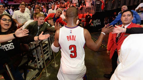 LOS ANGELES, CA - APRIL 18:  Chris Paul #3 of the LA Clippers walks off the court after Game Two of the Western Conference Quarterfinals against the Utah Jazz during the 2017 NBA Playoffs on April 18, 2017 at STAPLES Center in Los Angeles, California. NOTE TO USER: User expressly acknowledges and agrees that, by downloading and/or using this photograph, user is consenting to the terms and conditions of the Getty Images License Agreement. Mandatory Copyright Notice: Copyright 2017 NBAE (Photo by Andrew D. Bernstein/NBAE via Getty Images)