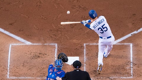 LOS ANGELES, CA - JUNE 19: Los Angeles Dodgers left fielder Cody Bellinger (35) hits a two RBI homerun in the first inning during the game between the New York Mets and the Los Angeles Dodgers on June 19, 2017, at Dodger Stadium in Los Angeles, CA. (Photo by David Dennis/Icon Sportswire via Getty Images)