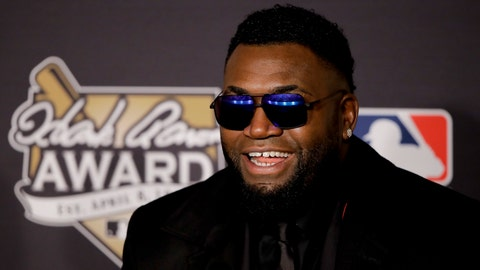 Boston Red Sox' David Ortiz talks after winning the Hank Aaron Award before Game 2 of the Major League Baseball World Series between the Cleveland Indians and the Chicago Cubs Wednesday, Oct. 26, 2016, in Cleveland. (AP Photo/Gene J. Puskar)